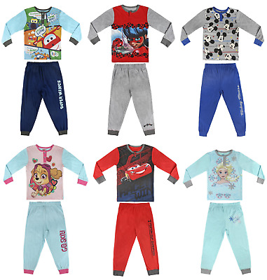 Boys Girls Official Disney Various Character Long Sleeve Buttoned Pyjamas PJs