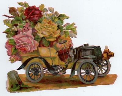 Very Large Victorian Die Cut Chromo Scrap of an Early Car full of Roses