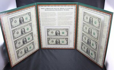 Complete Set of 20th Century $1 Federal Reserve Notes PCS Stamp & Coins Tri Fold