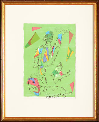 Marc Chagall, The green acrobat (Cover), Colour Lithograph, Printsigned