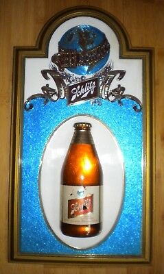 "Schlitz Beer Sign 17"" high x 9 1/2"" wide with Embedded Bottle"
