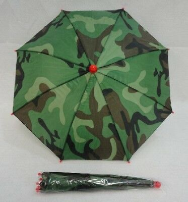 """6 Brand New Fold Up Camo  Color Umbrella Hats With 19"""" Canopy,  Free Shipping"""