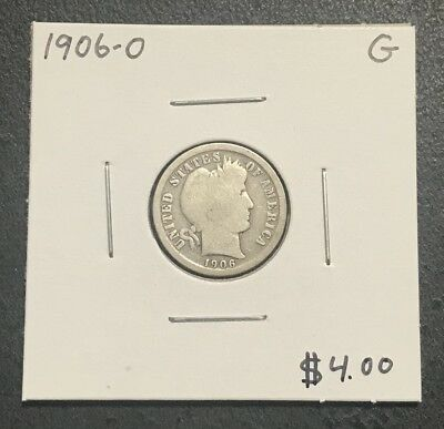 1906-O U.s. Barber Dime ~ Good Condition ~ Better Date! $2.95 Max Shipping! C504