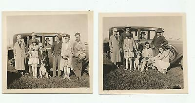 (2) 1928 1929 1930 Studebaker Commander Car Photos Border Coolie Dog Cat Family
