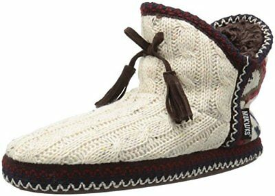 Muk Luks Women's Size Large 9 - 10 Natural Faux Fur Hard Sole Bootie Slipper NEW