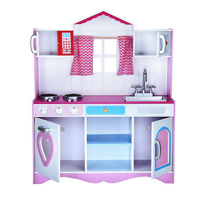 Girls Kids Pink Wooden Toys Play Kitchen Home Role Pretend Set Young Child Gift
