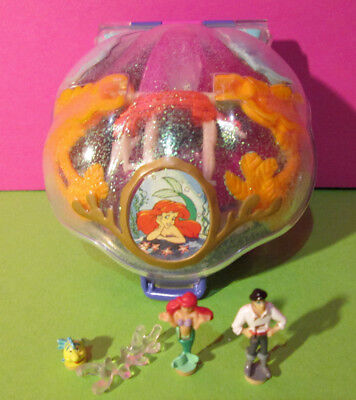 Polly Pocket Mini Disney ♥ Arielle Glitzer Muschel ♥ 3 Figuren ♥ 1996 ♥ Ariel ♥
