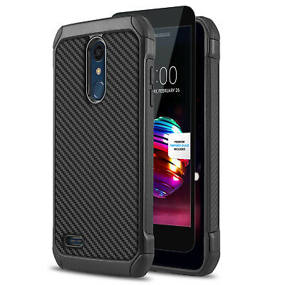 Combat Shockproof Cover Phone Case For [Zte Zmax Pro Z981] +Black Tempered Glass