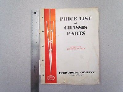 Vintage January 1938 Ford V8 Car Price List of Chassis Parts Book - Original