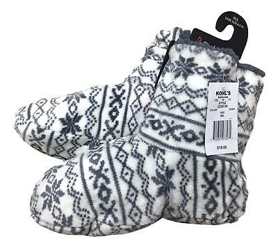 Cuddl Duds Size M/L 8.5 - 10 Ivory Grey Snowflake Print Soft Bootie Slippers