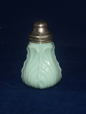 Antique Victorian Art Glass Salt Shaker Consolidated Green Opaque Palm Leaf Pat