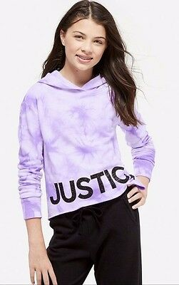 NWT JUSTICE Girls 6/7  8/10 Orchid Logo Glitter Crop Hoodie