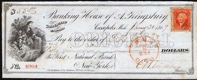 1869 A. Kingbury bank check, mother with children