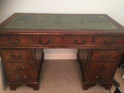 Antique Style Green Leather Top Writing Desk Chesterfield