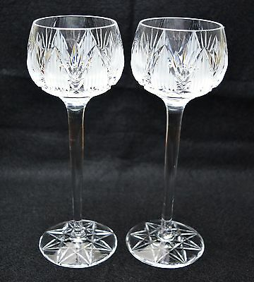 Vintage Tyrone Crystal Wine Hock Glass - Pair - Shannon Suite - Clear Cut