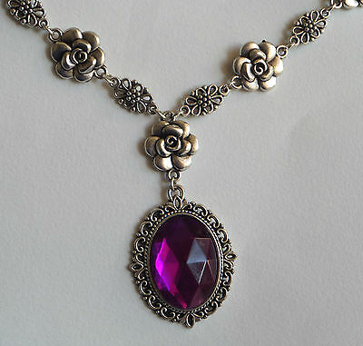 Camellia Filigree Victorian Style Magenta Purple Silver Plated Necklace Cf