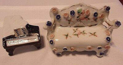 Vintage OCCUPIED JAPAN Porcelain SOFA / COUCH & PIANO Doll House FURNITURE Mini