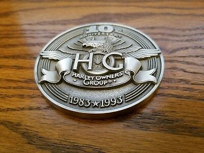 "Harley Davidson - Hog Owners Group 10th Anniversary 1993 3""  HOG Medallion"