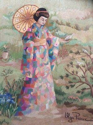 Vintage c1950s Silk Needlework Textile Oriental Lady with Parasol by Olga Pearce
