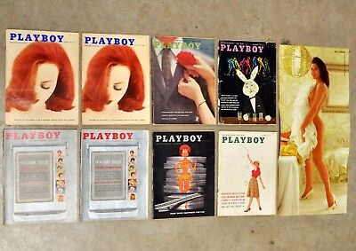 Vintage 1959 & 1960 Playboy Magazine Lot of 8 Mens Interest Adult Nude Mags