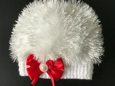 Hand Knitted Baby Girls White Eyelash Wool, With Red Bow  Beanie Hat  0 - 3 mths