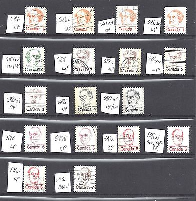 Canada SELECTION OF DIFFERENT VF USED CARICATURES SCOTT 586/592 (BS10467)