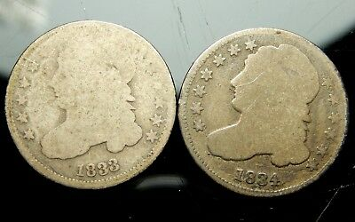 Pair of Early 1833 & 1834 Capped Bust Dimes !!