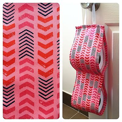 Double Toilet Roll Holder/ Toilet Paper Holder/ Bathroom Storage Pink Arrows