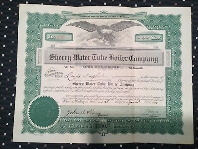 SHERRY WATER TUBE BOOLER  company  CO.stock certificate 1921