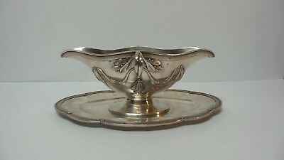 Stunning Antique FRENCH Sterling Silver Gravy Boat & Tray, Hallmarked, 650 Grams