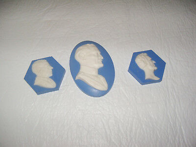 3 Mosaic Tile Company Tiles - Jasperware Cameos-Wilson, Pershing and Lincoln