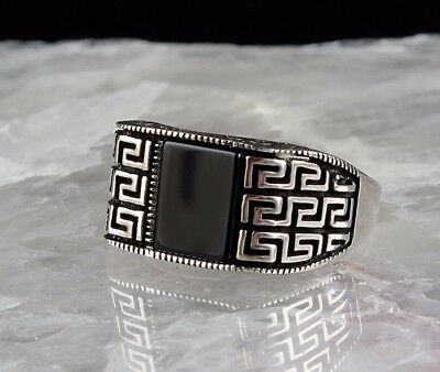 925 Sterling Silver Turkish Handmade SPECIAL Onyx Mens Ring Sz 12 us fr.resize