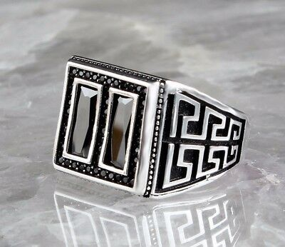 925 Sterling Silver Turkish Handmade SPECIAL Onyx Mens Ring Sz 8 us Fr.Resize