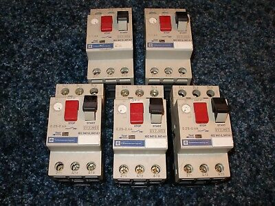 Lot of 5 Telemecanique GV2-M03 & M06 Manual Motor Starters