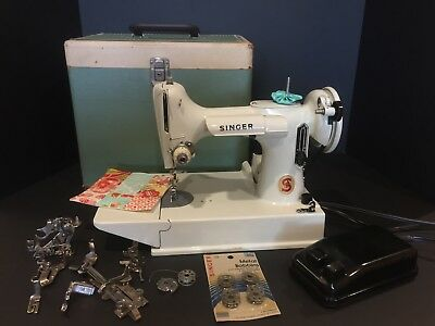 Vintage Singer Featherweight 221K White Celery Sewing Machine, Accessories, Case