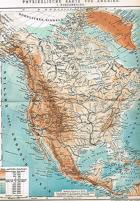 Nordamerika Landkarte 1904 - Physikalische Karte - Physical Map of America