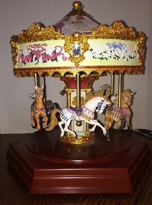 San Francisco Music Box Co Carousel 6 Horses Merry Go Round Works Perfectly!
