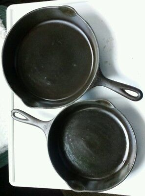 Vintage lot of 2 Wagner Ware Sidney O Cast Iron Skillets 9 & 10 inch NICE!