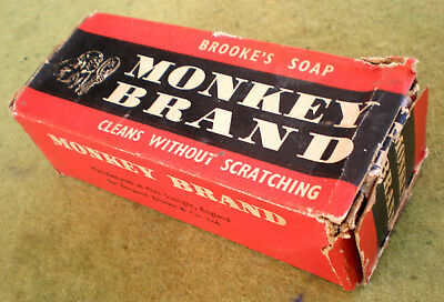 """VERY RARE 5 1/2"""" BROOKES MONKEY BRAND SOAP TABLETS (2) IN ORIGINAL BOX in GC"""