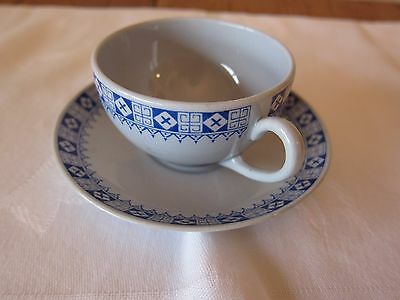 Vintage Arabia Of Finland Porcelain Blue Pattern  Espresso Cup With Saucer