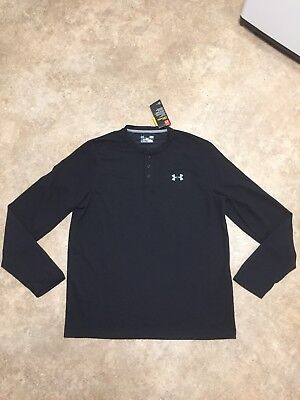NWT Mens L Under Armour Coldgear Infrared Black Henley Loose Fit Shirt $59.99
