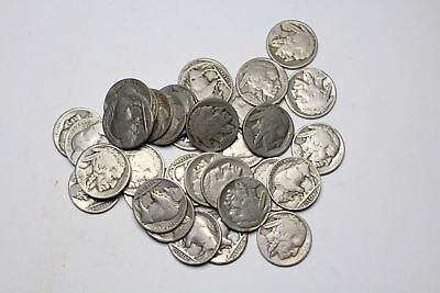 Buffalo Nickel 5c, Lot of 35, All with dates, mixed mint marks and P mint