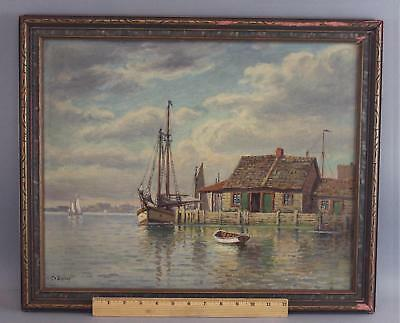 Antique T. Bailey Nautical Maritime Rockport Boats Fishing Shack Oil Painting