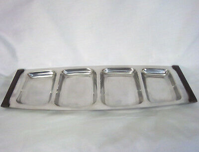 Stainless Divided Serving Tray Mid Century Lundtofte Denmark  Appetizer Wood