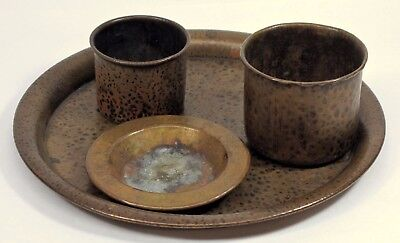 Antique Arts & Crafts Benedict Studios Hammered Copper Mission Smoking Set Tray