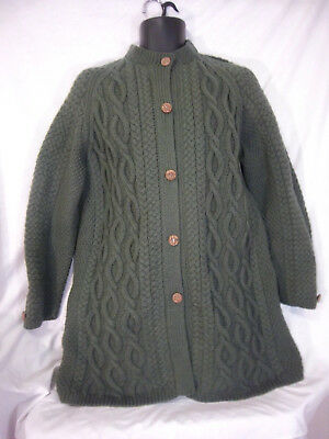 Cardigan Sweater Aran Cable Wool Carved Buttons Hand Knit Vintage Long Fisherman
