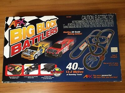 Big Block Battlers Afx Tomy Slot Car Set Mega G Manic Cars Complete Boxed