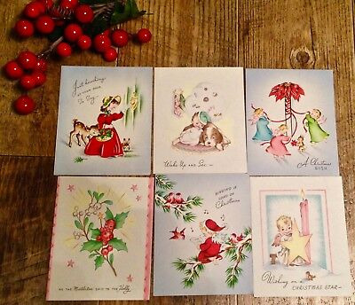 Lot Of 6 vintage Christmas Cards 1950's UNUSED! Deer,Holly Berry,Dogs, birds, mo