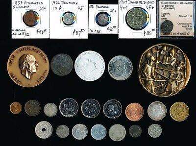 26 OLD COINS, TOKENS & MEDALS of DENMARK & RELATED COUNTRIES >   NO RESERVE