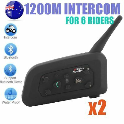 2X V6 1200M Motorcycle Intercom Helmet Interphone Bluetooth Headsets 6 Riders AU